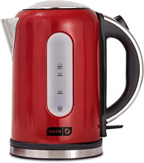 Dash DEK001RD Electric Kettle + Water Heater with with Rapid Boil, Cool Touch Handle, Cordless Carafe, No Drip Spout + Auto Shut off for Coffee, Tea, Espresso & More, 57 oz / 1.7 L, Red