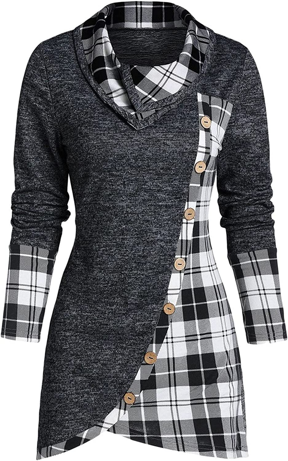 Womens Casual Tops Pliad Patchwork Slim Long Sleeve Tshirts High Neck Button Trendy Pullover Vintage Elegant Blouse