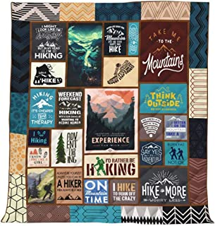 """Youandmes Camping Hiking Blanket Quilt Comforters with Reversible Cotton 37.8""""x44.9"""" Best Decorative Quilts-Unique Quilted for Gifts"""