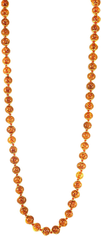 Genuine Venice Murano Sommerso Aventurina Glass Bead Long Strand Necklace in Burnt Orange, 26+2