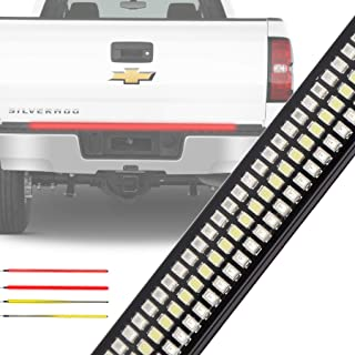 Tailgate Light Bar ZJUSDO 48'' Triple Row Tailgate Bar with SolidSequential Amber Turn Signal Brake Reverse Tail Light Bar for Pickup Trailer SUV Ford Chevy GMC Dodge Ram NO Drilling