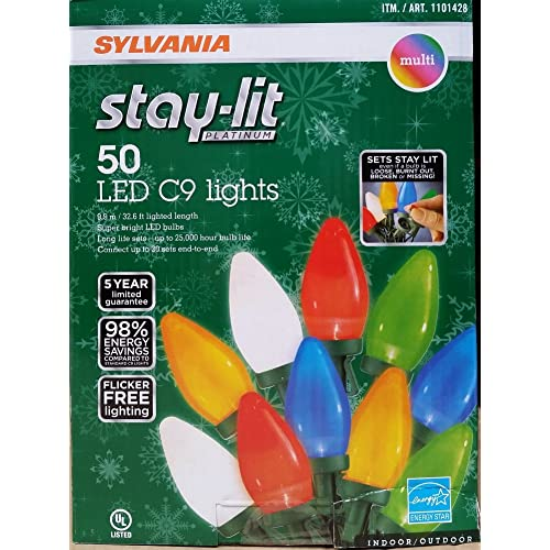 Sylvania Stay-Lit Platinum LED Indoor/Outdoor Christmas String Lights (Various Colors &