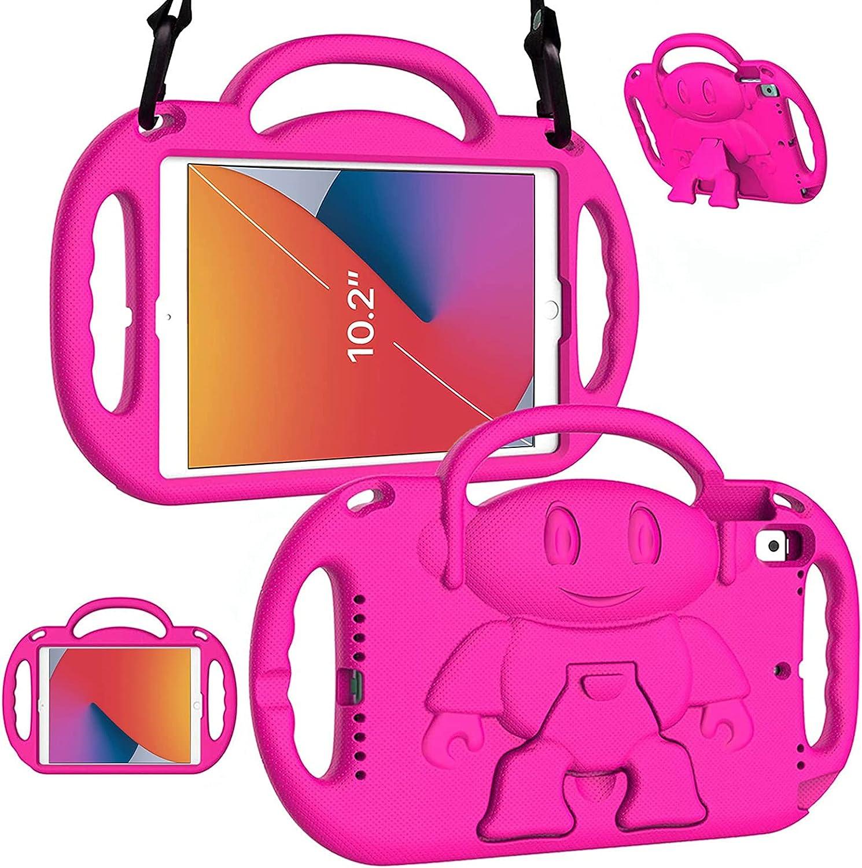 LTROP New iPad 8th Generation Case, iPad 10.2 Case, iPad 7th Generation Case for Kids - Shockproof Handle Stand Shoulder Strap Kids Case for Apple iPad 2020 (8th Gen)/2019 (7th Gen) 10.2-inch, Rose