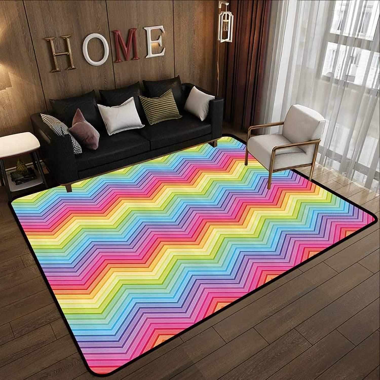 Carpet mat,Rainbow,colorful Zig Zag Chevron Pattern Geometric Modern Sharp Design Fancy Illustration,Multicolor 35 x 59  Floor Mat Entrance Doormat