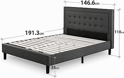 Cadre de lit plateforme capitonné 35 cm Dachelle ZINUS | Sommier | Support à lattes en bois | Facile à monter | 140 x 190 cm | Gris foncé