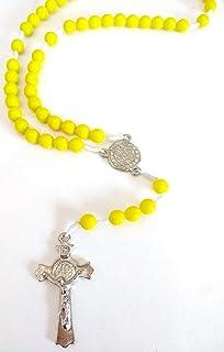 5 terços de são bento amarelo de bolso para rezar