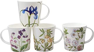 Grace Teaware Bone China Coffee Tea Mugs 16-Ounce, Assorted Set of 4 (Pink Blue Glory)