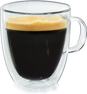 Casa Bellante Double Wall Glassware Milano Coffee Mug with Handle, 12 Ounces, Set of 2, 2-Pack