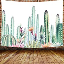 DBLLF Cactus Tapestry Wall Hanging White and Green Succulent Plants Tablecloths Flower Wall Ttapestry Home Decorations for Bedroom 80×60 inches DBZY0922