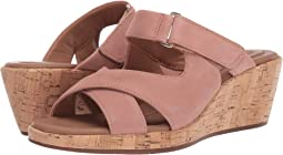 Cork Wedge Sandal with Dusty Pink Straps