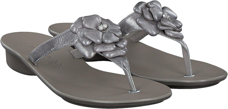 Paul Grün 7008-019 Elegante Pantolette Silber mit Blüte Zehengreifer Dianette 40 2 3 EU