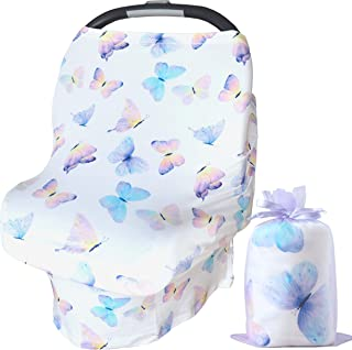 Bundled Joy Baby Gifts - Baby Car Seat Cover Canopy Breastfeeding Nursing Cover Infinity Scarf Stretchy Soft Boys Girls Gender Neutral (Butterfly White)