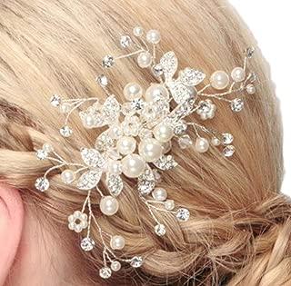 [アクアミー] ヘッドドレス フォーマル 結婚式 キラキラ フラワー コーム 髪飾り ヘアアクセサリー (Aタイプ)