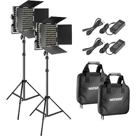 Neewer 2パック 二色660 LEDビデオライトとスタンドキット Uブラケットと遮光板付きの3200K-5600K CRI 96+ 調光可能なライト、75インチライトスタンド スタジオ撮影とビデオ撮影用