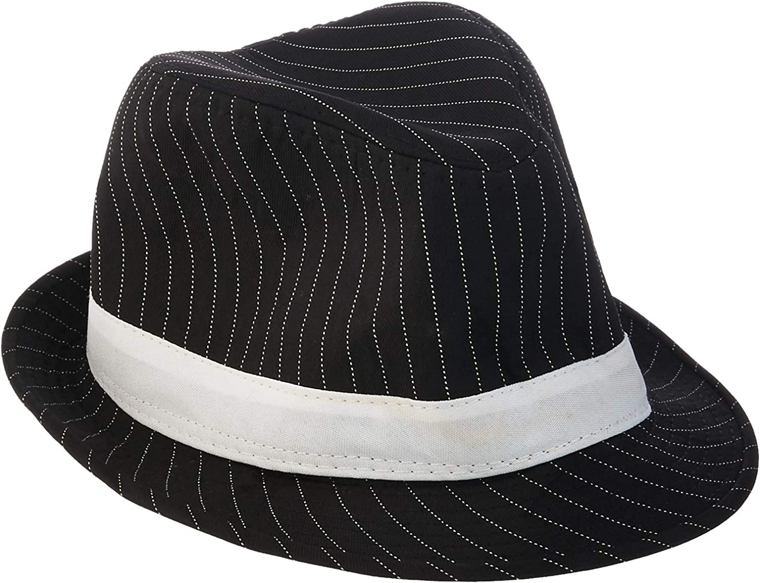 AC627 Deluxe Black Pinstripes Trilby Gangster Hat Gatsby 1920s Costume Fedora