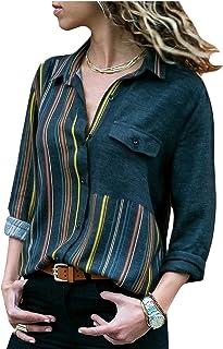 قمصان كاجوال بقبة V، مخططة ولها ازرار على طول القميص وازرار لطي الاكمام من مس لوك