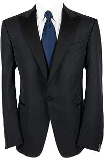 Multiseason Torin Black Wool Satin Peak Flat Front Tux Suit 46R