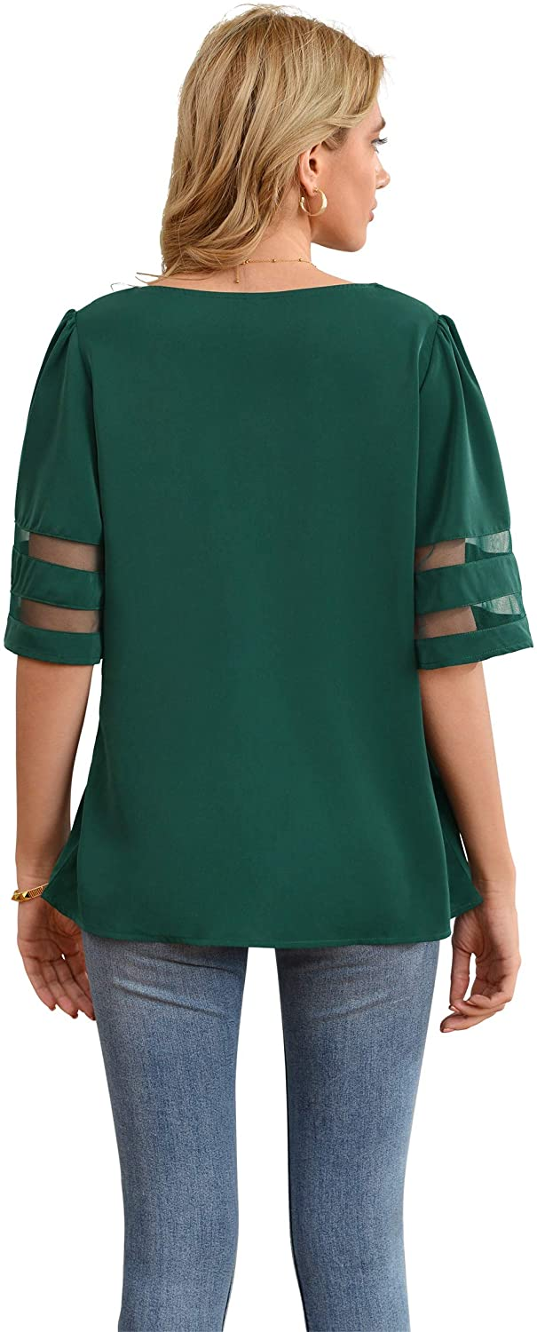 Jouica Women's V Neck Chiffon Blouse Mesh Panel Blouse 3/4 Bell Sleeve Loose Top Shirt(This Blouse is a Little Run Big)