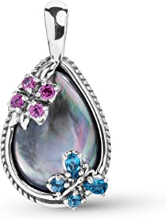 Sterling Silver Multi Gemstone Choice of 2 Color Combinations Butterfly Flower Pendant Enhancer