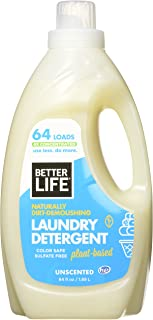 Better Life Natural Plant Based 4X Concentrated Laundry Detergent With Pump Unscented 64 Ounces Sulfate Free & Color Safe 2423