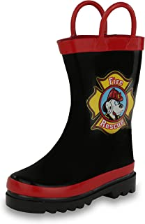 Puddle Play Kids Boys' Fire Dog Character Printed Waterproof Easy-On Rubber Rain Boots (Toddler/Little Kids)