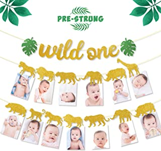Safari Jungle Animal 1st Birthday Banner Wild One Garland Gold First Year Photo Banner Baby Kid DIY Zoo Party Decorations