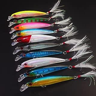 Hard Plastic 3D Eyes Minnow Fishing Lures Bass CrankBait Tackle Hard VIB Lure Bait Classic Treble Fishing Hooks and Flasher Fish Skin Feathers
