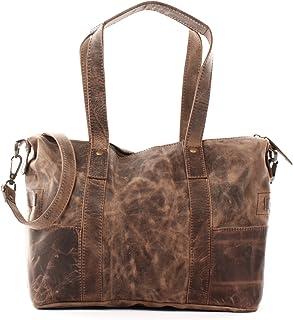 LECONI Shopper Vintage-Look Damen Henkeltasche Schultertasche Echt-Leder Natur Damentasche Ledertasche Umhängetasche Handtasche Leder 37x28x15cm LE0034