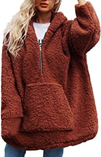 Women Warm Heavy Coat Faux Shearling Hoodie Hoody Zipper Pocket Winter Outerwear