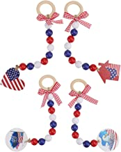 KESYOO 4Pcs American Bead Garland with American Flag and Bow Rustic Bead Garland for Farmhouse American 4th of July Day Wa...