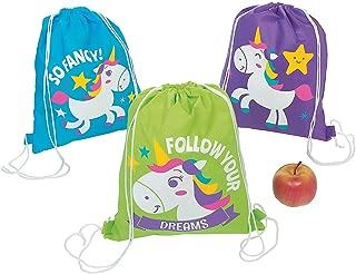 Unicorn Party Drawstring Backpacks, Set of 12