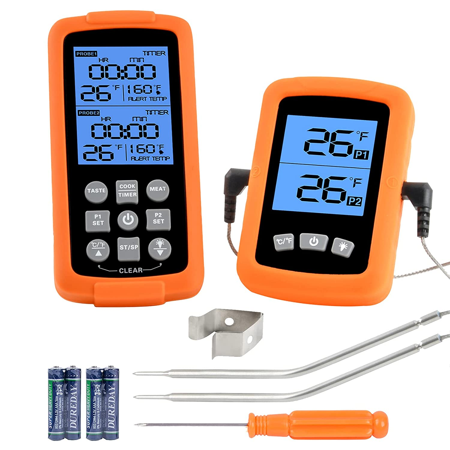 GGC Wireless Remote Digital Cooking Food Meat Thermometer with Dual Probe for Smoker Grill BBQ Thermometer