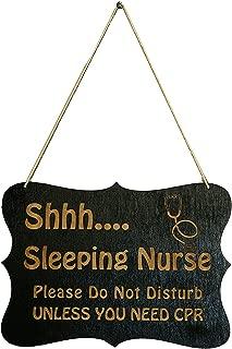 Shhh Sleeping Nurse Door Sign 9x6.5in Black Painted Wood