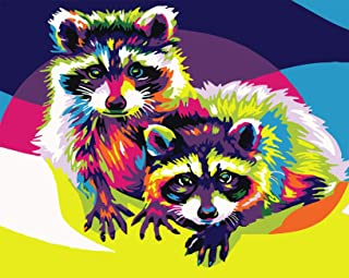 Uniic DIY Oil Art Paint by Numbers, Oil Painting Kits for Adults and Kids Beginners Frameless 16x20 inch (Colorful Raccoon)