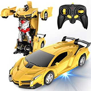 Desuccus Remote Control Car, Transform Robot RC Car for Kids, 2.4Ghz 1:18 Scale Model Racing Car with One-Button Deformati...