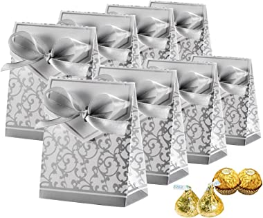 Johouse 50pcs Mini Wedding Favor Box,Gift Boxes Candy Boxes with Gift Ribbons for Wedding Party Favor Party Decoration, Silver