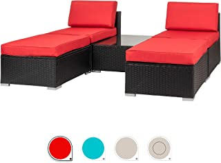 Walsunny 5 Pieces Patio Outdoor Furniture Set All Weather PE Wicker Sectional Patio Chaise Lounge Poolside Rattan Patio Conversation Sets with Cushion (Red)