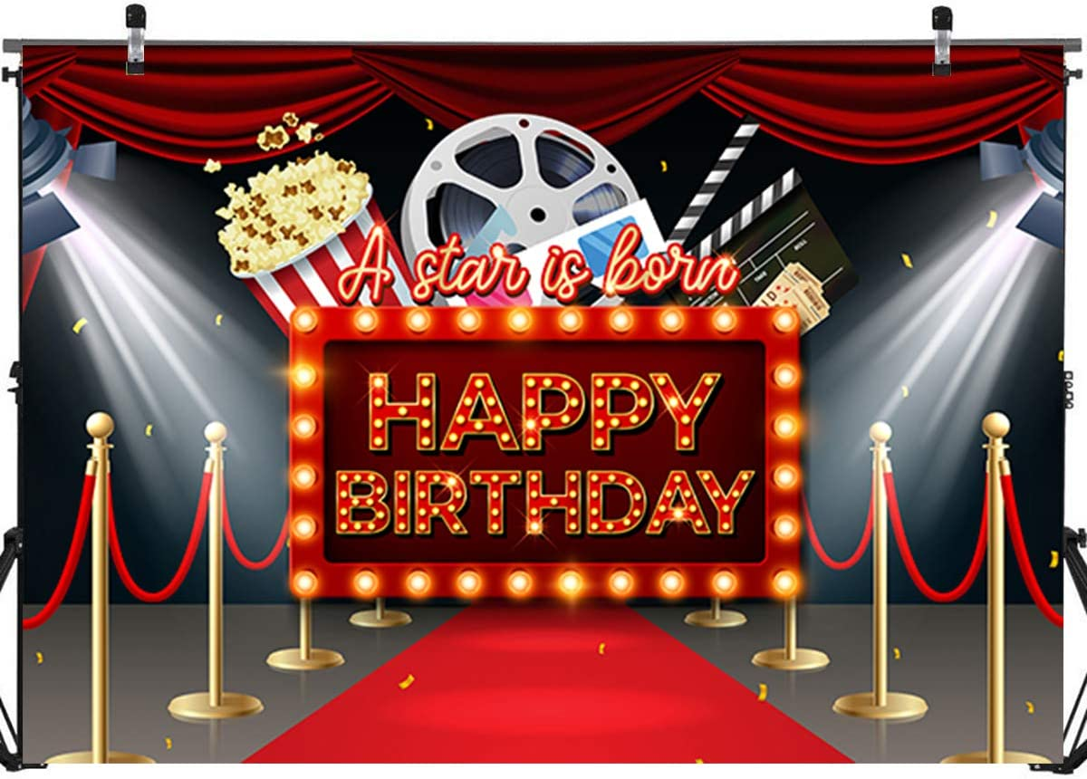 Hollywood Movie Happy Birthday Backdrop Banner Decorations,Hollywood Movie Theme Birthday Party Backdrop Background Banner Photo Booth Props Cake Table Decorations 71x 49inch