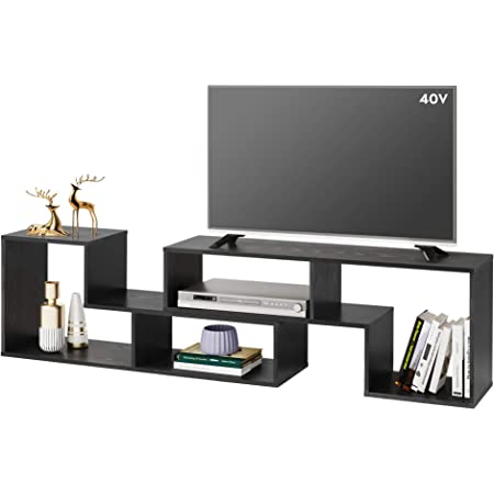 Devaise Flat Screen Tv Stand For 45 50 55 65 Inch Tv Modern Entertainment Center With Storage Shelves Media Console Bookshelf For Living Room Black Furniture Decor