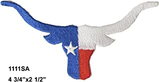 #1111SA Texas Flag,Longhorns,Bull Embroidery Iron ON Applique Patch by ETDesign (Size 4 3/4