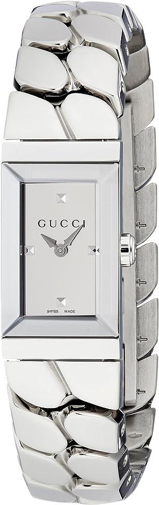 Gucci, orologio classico da donna, in acciaio inossidabile, e cinturino con design a catena YA147501