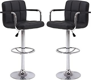 Vogue Furniture Direct Black Leather Adjustable Height Swivel Barstool Set with Armrest and Footrest (Set of 2) VF1581021-2…