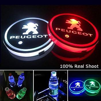 車用 LED ドリンクホルダー レインボーコースター 車載 ロゴ ディスプレイライト LEDカーカップホルダー マットパッド (プジョー Peugeot)