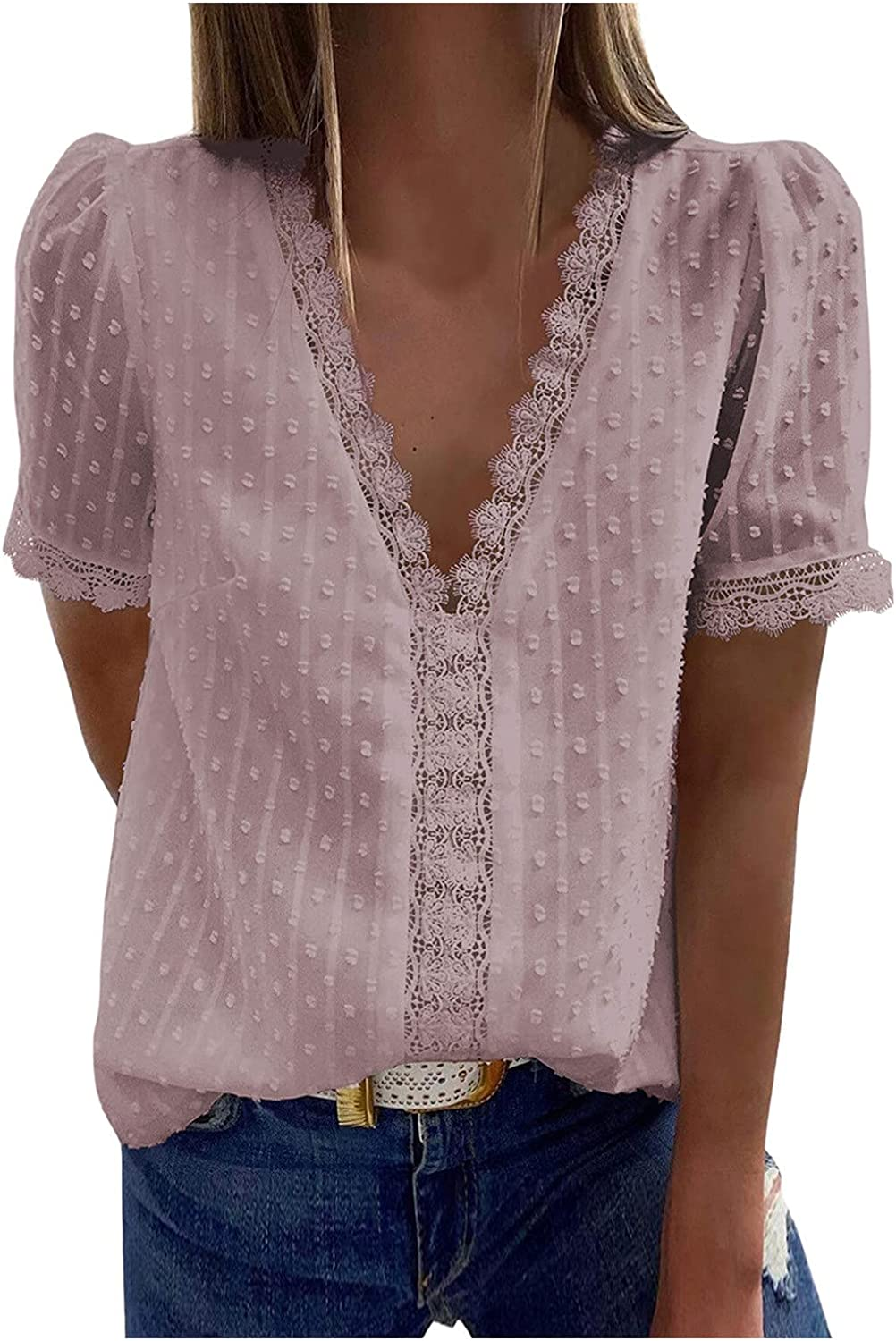 Sayhi Women Casual Lace Tank Top Vest Short Sleeve Blouse Camisole Cami Shirt Size Solid Color Loose Tee Shirts