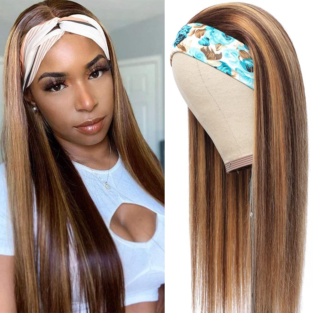 Cheap Columbus Mall Honey Blonde Straight Headband Wig Human 4 Hair 27 Colored