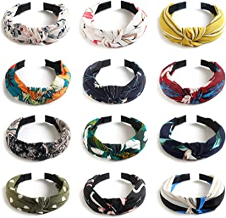 Kisslife 12 Pack Wide Headbands Knot Turban Headband Hair Band Elastic Plain Fashion Hair Accessories for Women and Girls, Children 12 Colors