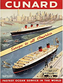 Wee Blue Coo Travel Transport Europe America Ship Cruise Liner Ocean Unframed Wall Art Print Poster Home Decor Premium
