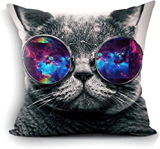 oFloral Galaxy Hipster Cat Theme Throw Pillow Cover Funny Cat Wear Color Sunglasses Rectangle Pillow Case Cushion Cover Standard Size 18