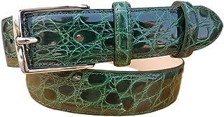 ESPERANTO Cintura uomo in vero fianco di coccodrillo, fodera vera pelle cuoio nabuk fibbia nichel free - altezza 4 cm (Ver...