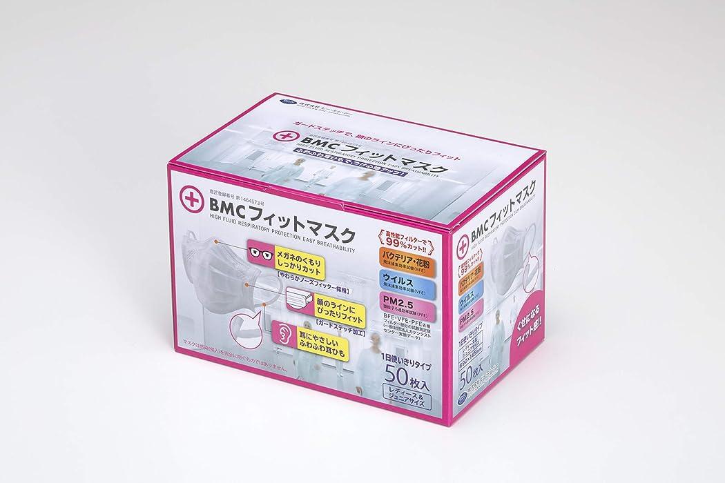 ミケランジェロ分注する評価可能(PM2.5対応)BMC フィットマスク (使い捨てサージカルマスク) レディース&ジュニアサイズ 白色 50枚入